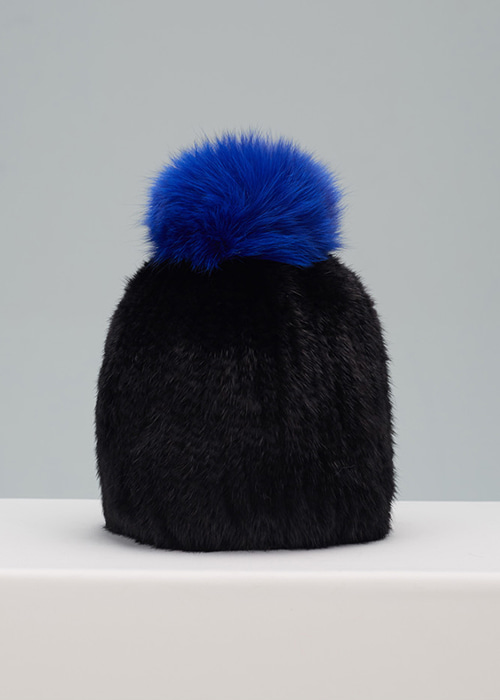 MINK HAT BLACK&BLUE